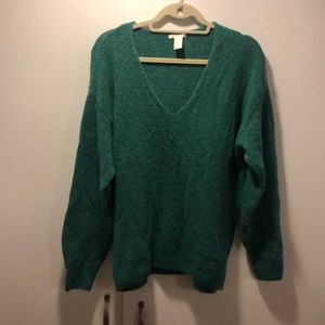 H&M baggy teal V neck sweater - S